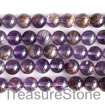 Bead, amethyst phantom, 8mm round. 15.5-inch, 50pcs