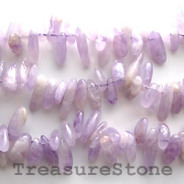 Bead, amethyst, top-drilled stick, 16-inch strand.