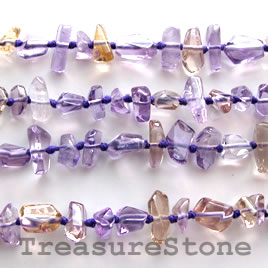 Bead, ametrine, 5x8mm hand-cut faceted nugget. 16-inch strand.