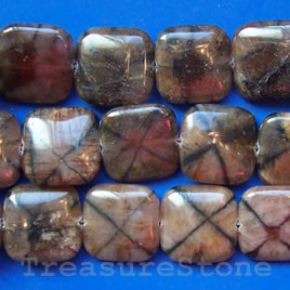 Bead, andalusite, 25mm flat square. 16-inch strand.