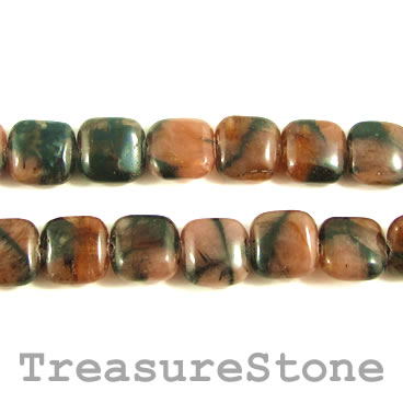 Bead, andalusite, 10mm flat square. 15.5-inch strand.