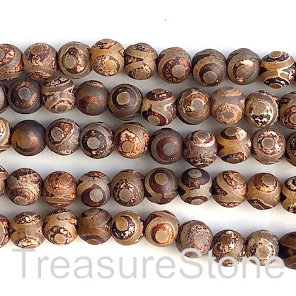 Bead, antique agate (dyed), brown 4, 8mm round. 14inch, 47pcs