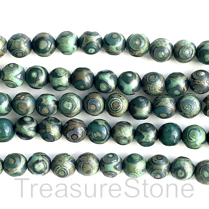 Bead, antique agate (dyed), green 5, 8mm round. 15inch, 46pcs