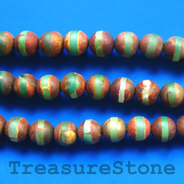 Bead, antique jade 2, 8mm round, matt. 15.5-inch strand.