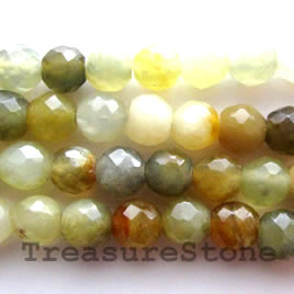 Bead, antique jade, 6mm faceted round. 16-inch strand.