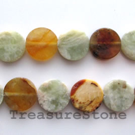 Bead, antique jade, 12mm flat round. 15.5-inch strand.