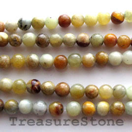 Bead, antique jade, 4mm round. 15.5-inch strand.