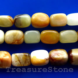 Bead, antique jade, 10x14mm rectangle. 15.5-inch strand.
