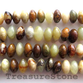 Bead, antique jade, 7x10mm rondelle. 16-inch strand.