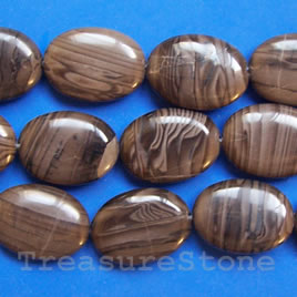 Bead, antique jasper, 18x25mm puffed oval. 16-inch strand.