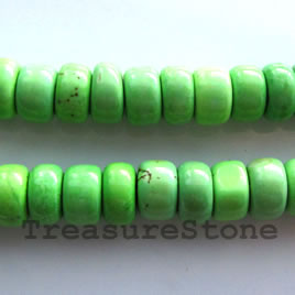 Bead, dyed turquoise, apple green, 5x10mm heishi. 16-inch.