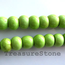 Bead, dyed turquoise, apple green, 6x12mm rondelle. 16-inch.