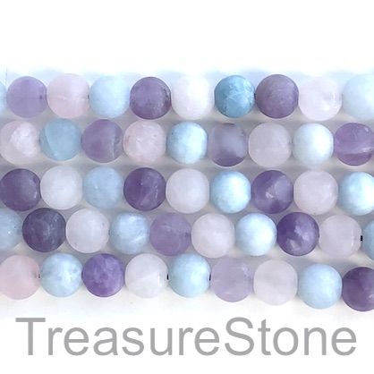 Bead,aquamarine, amethyst,rose quartz, matte,10mm. 15 inch,39pcs