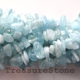 Bead, aquamarine, about, 8mm, chip, 36-inch strand