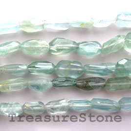 Bead, aquamarine, about 13mm faceted nugget. 16 inch strand.