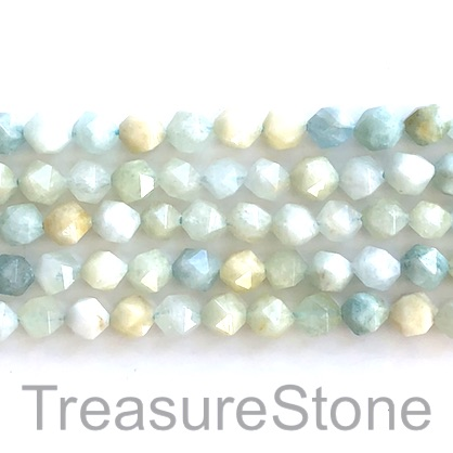 Bead, Aquamarine, 7x8mm, faceted nugget, star cut. 15.5inch, 50