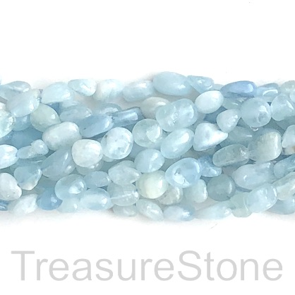 Bead, aquamarine, about 6x8mm nugget. 15.5-inch