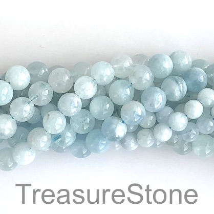 Bead, aquamarine, 8mm round. 15-inch strand, 45pcs