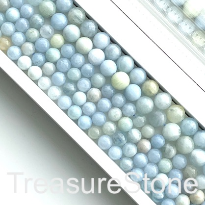 Bead, aquamarine, 8mm round. 15.5-inch strand, 48pcs