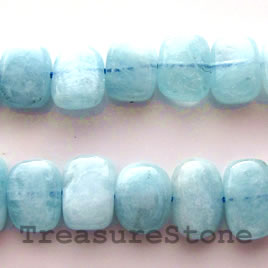 Bead, aquamarine, 10x14mm flat rectangle. 16-inch strand.