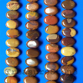 Bead, autumn jasper, flat oval, side-drilled, 16-inch strand.