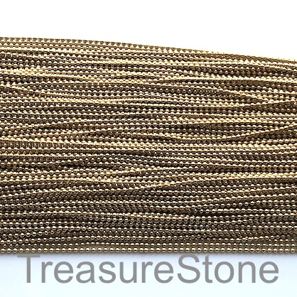 Chain, brass, shiny brass coloured, 1.2mm ball. pack of 2 meters