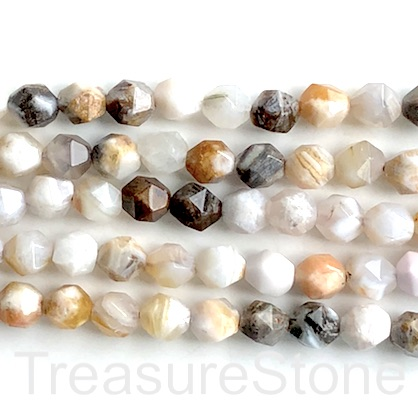"Bead, bamboo agate, 7x8mm, faceted nugget, star cut. 14"", 47"