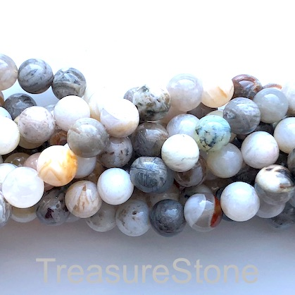 Bead, bamboo agate, 10mm round. 15-inch, 38pcs