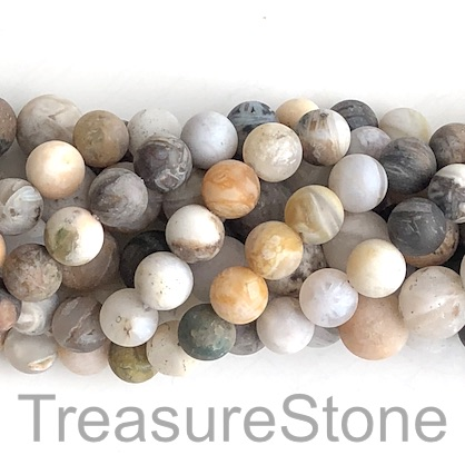Bead, bamboo agate, 6mm round, matte, grade B-. 15-inch, 64pcs