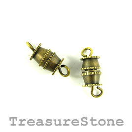 Clasp, barrel, brass plated, 6x8mm. Pkg of 12.