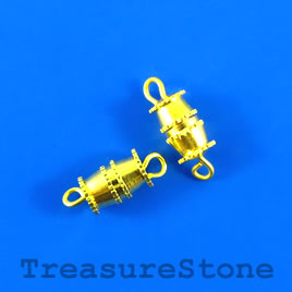 Clasp, barrel, gold plated, 6x8mm. Pkg of 12.