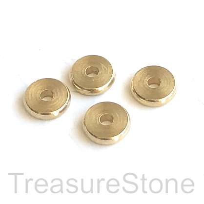 Bead, brass, gold, 8x2mm disk. Pack of 12.