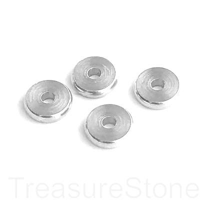Bead, brass, silver, 8x2mm disk. Pack of 12.