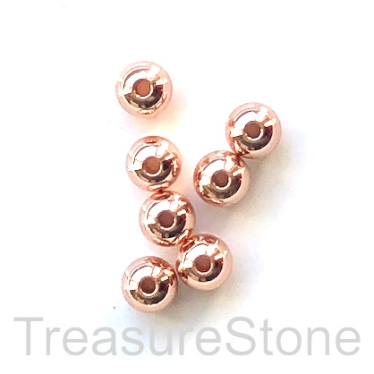 Bead, brass, rose gold, 6mm round. Pack of 6.
