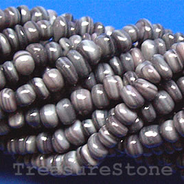 Bead, black shell, MOP, chip. Sold per 16-inch strand.