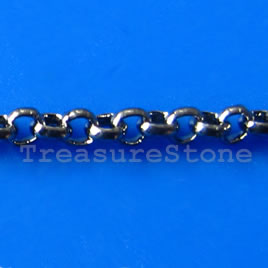 Chain, brass,black-finished, 1.5mm rolo. Sold per pkg of 1 meter