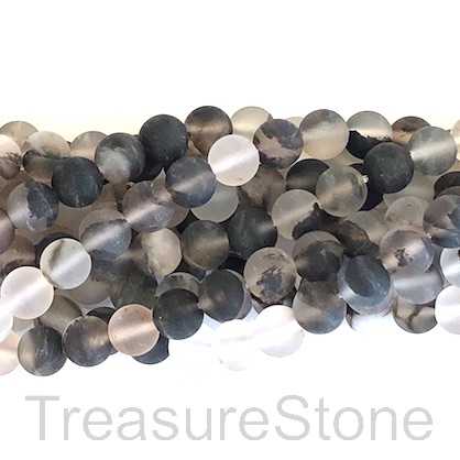 "Bead, black cherry quartz glass, matte, 6mm round. 15"", 61pcs"