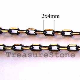 Chain, brass, black-gold finished,2x4mm rectangle.Pkg of 1 meter