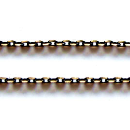 Chain, brass, black-gold finished,1x2mm rectangle.Pkg of 1 meter