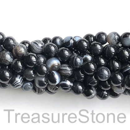 Bead, agate (dyed), black, 8mm round, grade B. 15-inch, 46pcs