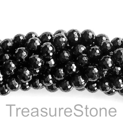 Bead, black onyx, 10mm faceted round, A grade. 15.5-inch, 40pcs