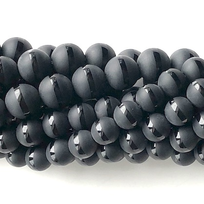 "Bead, frost black onyx, matte, 8mm round with line. 15.5"", 48pcs"