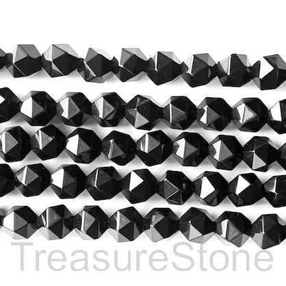 Bead, Black onyx, 10mm faceted, star cut. 15 inch, 40pcs