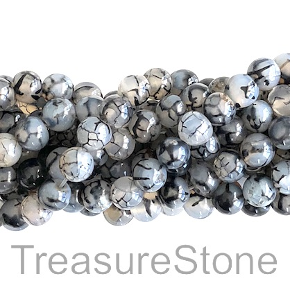 Bead, black patterned agate, Grade B-, 8mm round. 15-inch, 46pcs
