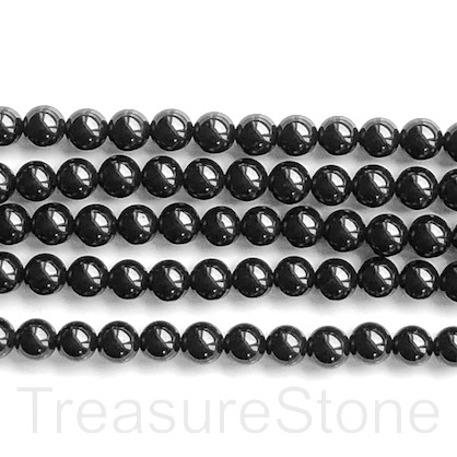 Bead, black spinel, 6mm round. 15.5-inch, 65pcs