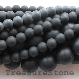 Bead, frost blackstone/ black jasper, 3-4mm round. 16-inch. - Click Image to Close