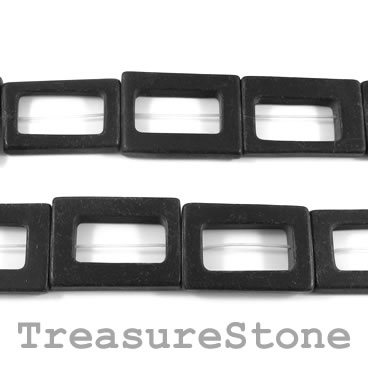 Bead, blackstone/ black jasper, 20x30mm frame. 14pcs