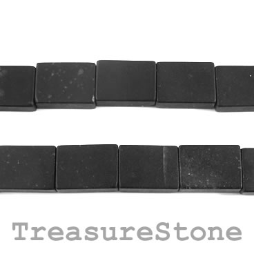Bead, blackstone/ black jasper, 13x18mm rectangle. 15.5-inch