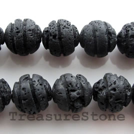 Bead, black lava, 12mm carved round. 16-inch strand.