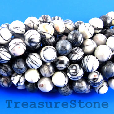 Bead, black line jasper, 10mm round. 15-inch, 37pcs.